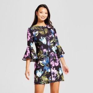 Melonie T Floral Printed Bellsleeve Shift Dress